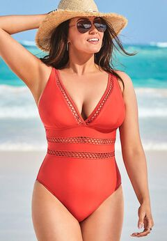 Lattice Plunge One Piece Swimsuit