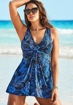 Twist Front V-Neck Swimdress
