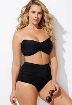 Valentine Ruched Bandeau High Waist Bikini Set available from SwimsuitsForAll, Click for more Details