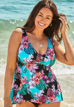 V-Neck Flowy Tankini Top available from SwimsuitsForAll, Click for more Details