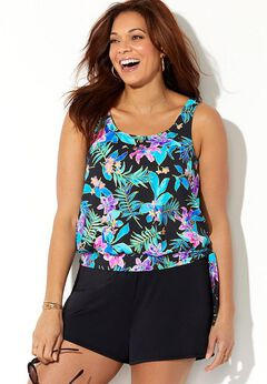 Side Tie Blouson Tankini Set with Short available from SwimsuitsForAll, Click for more Details