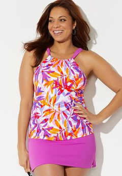 High Neck Tankini Set with Side Slit Skirt