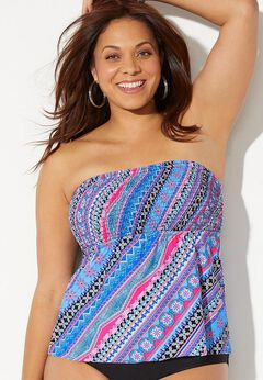 Smocked Bandeau Tankini Top available from SwimsuitsForAll, Click for more Details