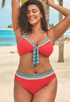 Mentor Tie Front Ribbed High Waist Bikini Set available from SwimsuitsForAll, Click for more Details