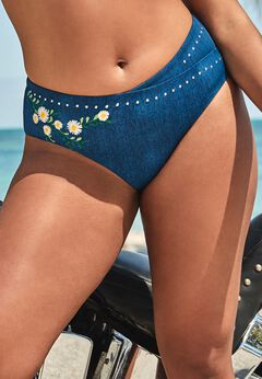 Ashley Graham Revere High Waist Bikini Bottom available from SwimsuitsForAll, Click for more Details