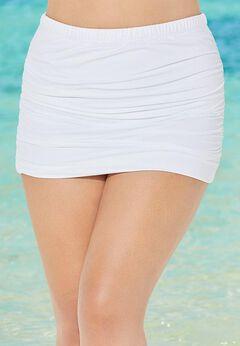 Shirred High Waist Swim Skirt
