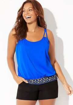 Loop Strap Blouson Tankini Set with Cargo Short