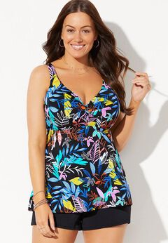 Bra Sized Sweetheart Underwire Tankini Set with Banded Short