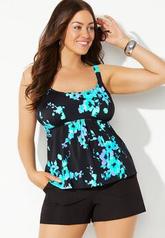 Flared Tankini Set with Cargo Short