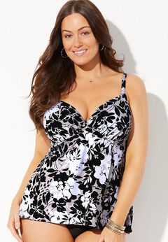 Bra Sized Faux Flyaway Underwire Tankini Top available from SwimsuitsForAll, Click for more Details