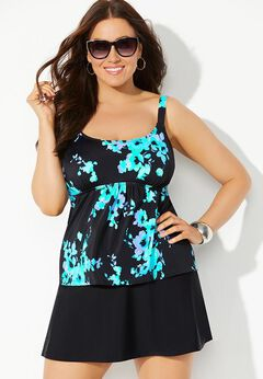 Flared Tankini Set with Skirt