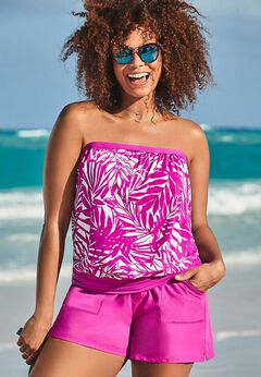Bandeau Blouson Tankini Set with Cargo Short