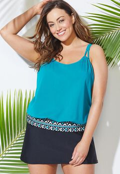 Loop Strap Blouson Tankini Set with Skirt