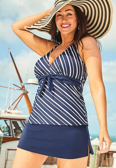 Halter Tankini Set with Side Slit Skirt