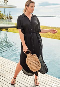 Grace Long Button Front Dress Cover Up available from SwimsuitsForAll, Click for more Details