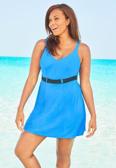 Underwire Belted Swim Dress