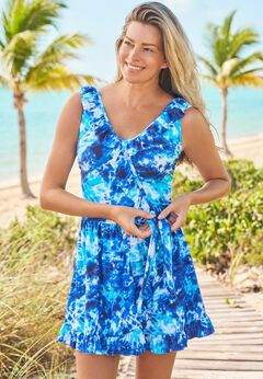 Faux-Wrap Swim Dress
