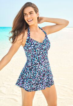 Retro Halter Swim Dress