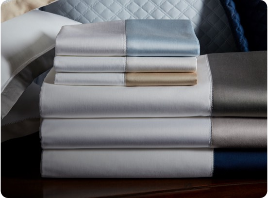 Quilted & contrast-border sateen sheeting