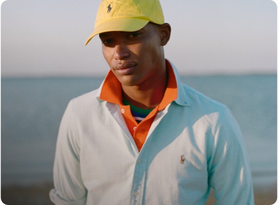 Man in button-down shirt with multicolored Polo Pony accent
